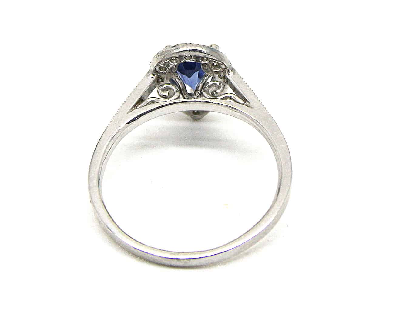 Pear Sapphire Diamond Halo Ring Kish Jewellers